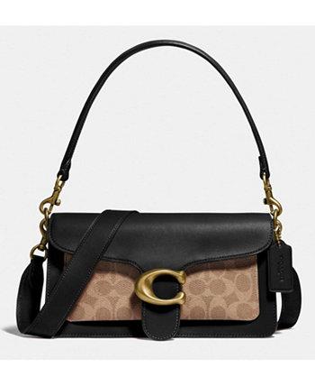 Кожаная сумка через плечо 26 с фирменной тканью Tabby COACH