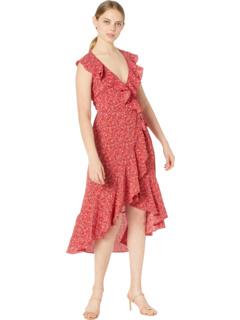 Платье с запахом из пузырькового крепа с принтом Max Studio