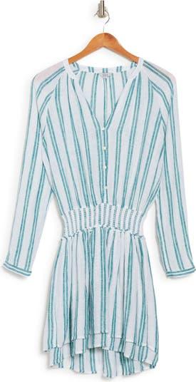 Платье из смесового льна в полоску жасмина со сборкой на талии Rails