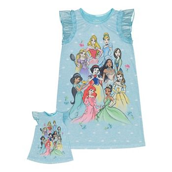 Disney Princess Girls 4-8 Princess Dream Team Nightgown & Matching Doll Nightgown Licensed Character