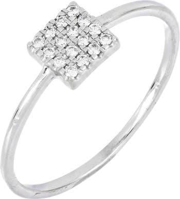 Квадратное кольцо с паве из белого золота 18 карат с бриллиантами - 0,09 карата Bony Levy