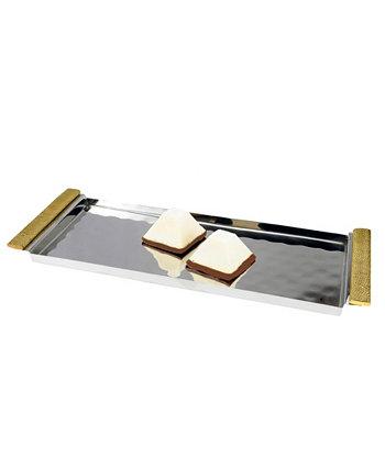 14-дюймовый прямоугольный сервировочный поднос с золотыми ручками Classic Touch