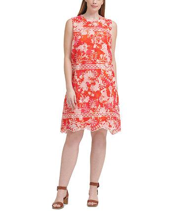 Платье-трапеция из шифона с вышивкой и принтом больших размеров Calvin Klein