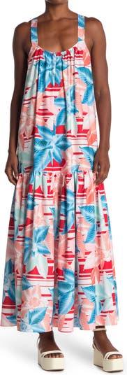 Макси-платье с цветочным принтом без рукавов High / Low TOV