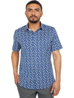 Рубашка с коротким рукавом с воротником-стойкой Noah Ooohcotton Tech Point BUGATCHI