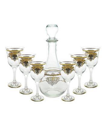 Винный набор из 7 предметов с золотым орнаментом Classic Touch