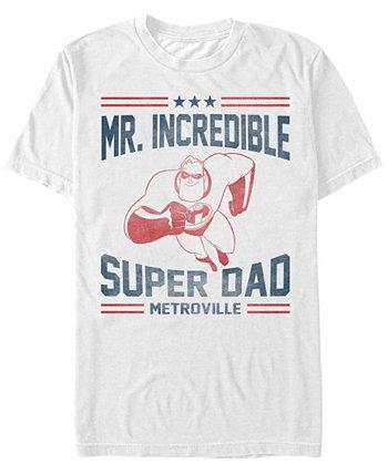 Мужская футболка с коротким рукавом Disney Pixar Mr. Super Dad Metroville The Incredibles