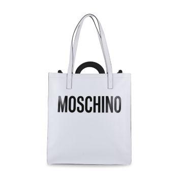 Кожаная сумка-тоут с логотипом Moschino
