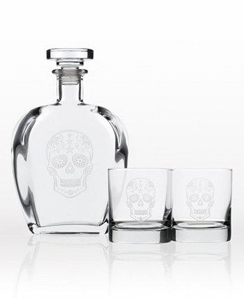 Подарочный набор из 3 предметов Sugar Skull - графин для виски и бокалы с камнями Rolf Glass
