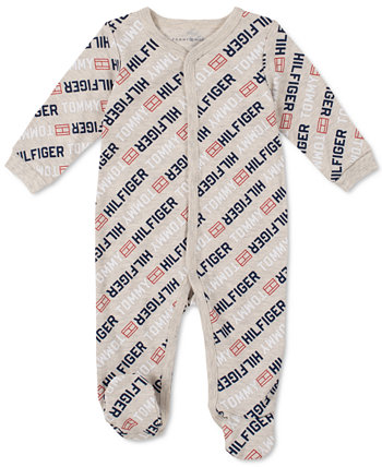 Baby Boys Signature Long-Sleeve Footed Logo Onesie Tommy Hilfiger
