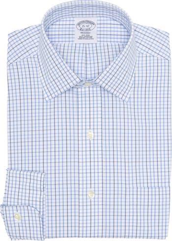 Рубашка в клетку на пуговицах без железа Regent Fit спереди Brooks Brothers