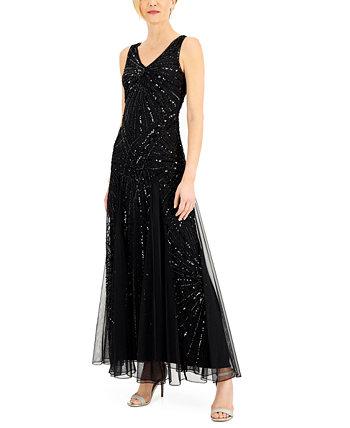 Платье с V-образным вырезом и бисером J Kara