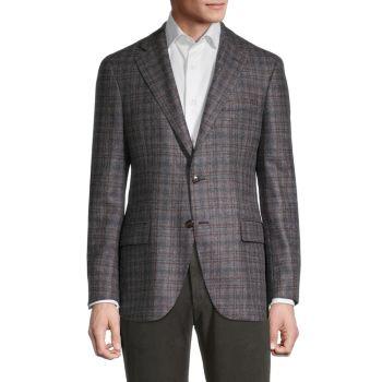 Пиджак классического кроя в клетку из меланжевой шерсти LUBIAM