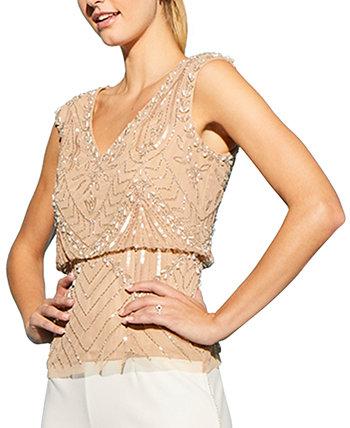 Топ-блузон с вышивкой бисером Adrianna Papell