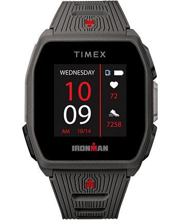 Мужские смарт-часы Ironman R300 с темно-серым силиконовым ремешком и GPS с пульсометром 41 мм Timex