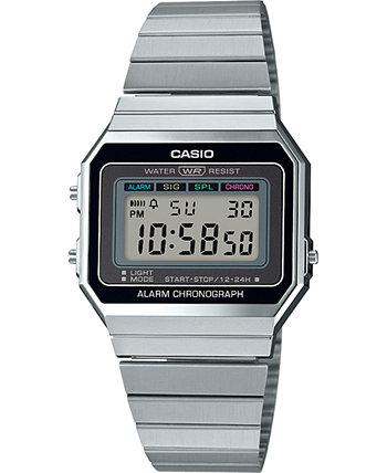 Цифровые часы унисекс с браслетом из нержавеющей стали, 35,5 мм Casio