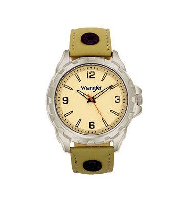 Мужские часы, 53,5 мм IP-корпус серого цвета, бежевый циферблат с зазубренной лицевой панелью, зонированный циферблат с арабскими цифрами, кожанный ремешок серо-коричневого цвета с заклепками, красная секундная стрелка Wrangler