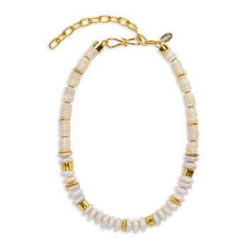 Обновить 18-каратное золочение, культивированный жемчуг 13–14 мм и amp; Ожерелье из перламутра из бисера Lizzie Fortunato