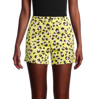Neon Leopard Shorts LOVE Moschino