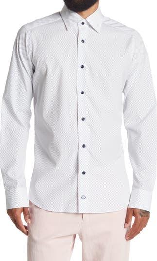 Приталенная классическая рубашка с рисунком David Donahue