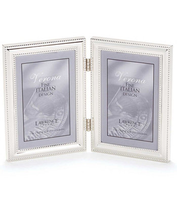 """Hinged Double Metal Picture Frame Silver-Plate with Delicate Beading - 4"""" x 6"""" Lawrence Frames"""