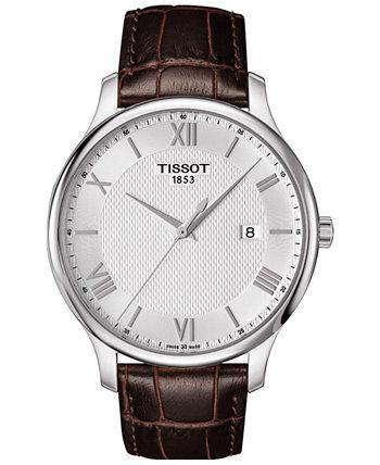 Мужские Швейцарские Традиции Коричневый Кожаный Ремешок Часы 42мм T0636101603800 Tissot