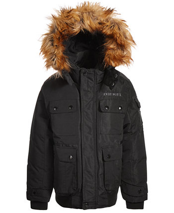 Куртка-бомбер Little Boys с отделкой из искусственного меха Diesel
