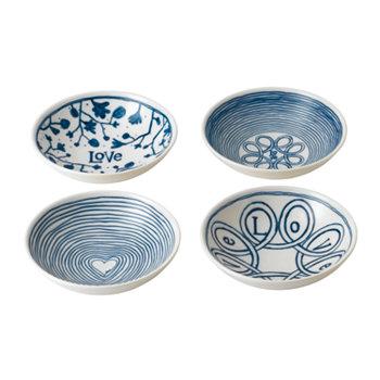 Изготовлено Royal Doulton Blue Love Bowl, набор из 4 шт. ED Ellen DeGeneres