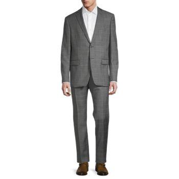Regular-Fit Windowpane Wool Suit John Varvatos Star U.S.A.
