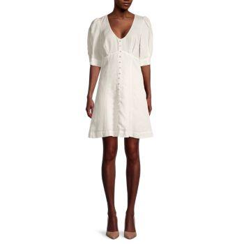 Kierra Linen-Blend Button-Front Dress Parker
