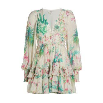 Тропическое мини-платье с длинными рукавами HEMANT & NANDITA