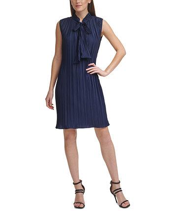 Pleated Tie-Neck Dress DKNY