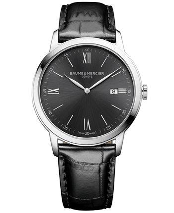 Мужские часы Swiss Classima с черным кожаным ремешком, 42 мм Baume & Mercier