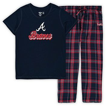 Women's Concepts Sport Navy Atlanta Braves Plus Size T-Shirt and Flannel Pants Sleep Set Unbranded