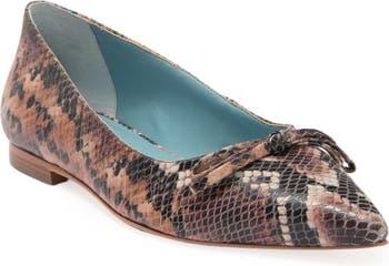Paige Snakeskin Embossed Leather Flat Frances Valentine