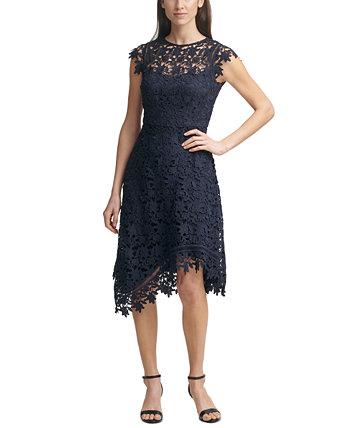 Кружевное платье миди с асимметричным подолом Eliza J