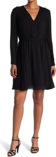 V-Neck Long Sleeve Silk Shift Dress Jason Wu