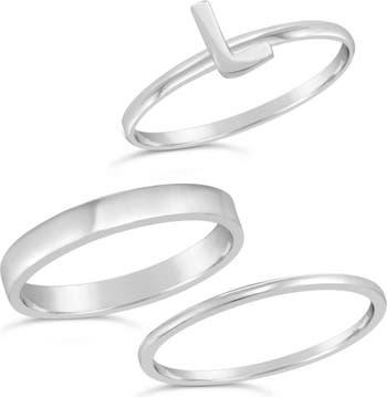 Первоначальное кольцо из стерлингового серебра - набор из 3 штук - L Sterling Forever