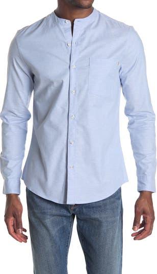 Рубашка с ободранным воротником-стойкой TOPMAN