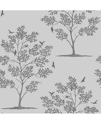 Обои с лесными деревьями и птицами - 396 x 20,5 x 0,025 дюйма Brewster Home Fashions