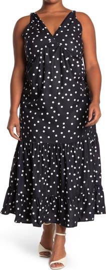 Платье в горошек без рукавов с оборками ONE ONE SIX
