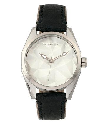 Серия M59, серебряный корпус, часы с тканевым ремешком с черным кожаным покрытием, 44 мм Morphic