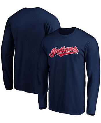 Мужская футболка с длинным рукавом с надписью Navy Cleveland Indians Official Wordmark Fanatics
