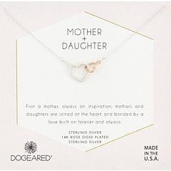 Мать и дочь, ожерелье из двух сердечек со смешанными металлическими сердечками Dogeared