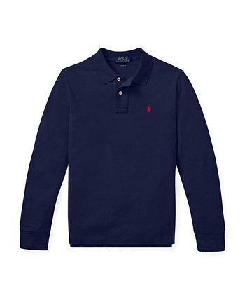 Сетчатая рубашка-поло с длинными рукавами Big Boys Ralph Lauren