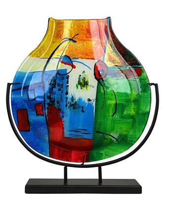 15,5-дюймовая ваза-капля с металлической подставкой Jasmine Art Glass
