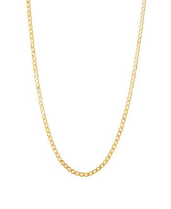 Полированная 22-дюймовая цепочка для бордюров из твердого желтого золота 10 карат Italian Gold