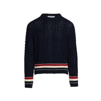 Твидовый свитер Donegal в полоску с вышивкой Filey THOM BROWNE