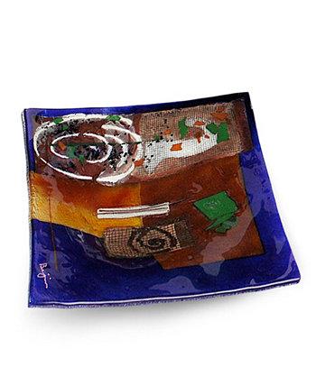 Квадратная тарелка 12 дюймов Jasmine Art Glass