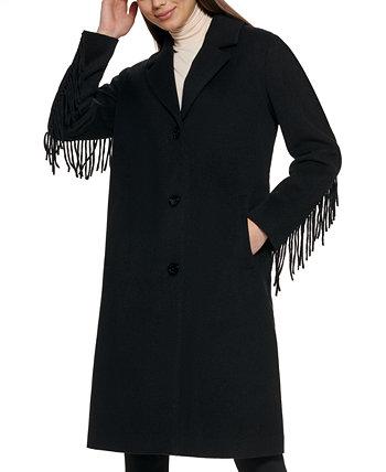 Single-Breasted Fringe Walker Coat Kenneth Cole